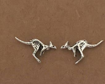 925 Sterling Silver Kangaroo Earrings | Australian | Skippy | Stud Earrings | Kangaroo