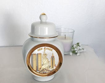Chokin New York Lady Liberty Twin Towers Empire State Building Ginger Jar