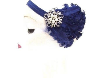 Navy Blue Silver Feather Headband 1920s Flapper Fascinator Headpiece Vtg 2774