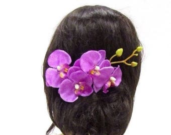 Purple Pink Long Orchid Flower Stem Hair Comb Fascinator Rockabilly 1950s 3025