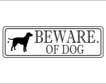 "Beware Of Dog Sign - 2.5"" x 8"", Labrador Retriever silhouette, - FREE SHIPPING"