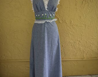 Vtg 70s 80s Women's Long Maxi Halter Dress Sundress Lace Eyelet Embroidered