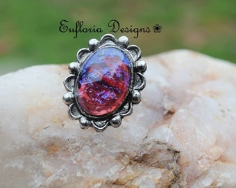 Womans Ring, Vintage Opal Ring, Large, Red Ring, Dragons Breath Opal Ring, Mexican Opal Ring, Fashion Ring, Unique Opal Ring, Statement Ring