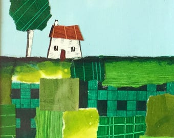 Little House on patchwork hill 2, mounted collage painting by Jane Palmer folk art