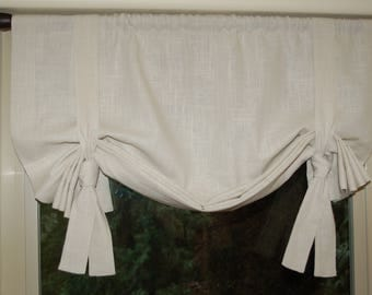 Rustic Chic, Linen Roll Up Curtaince/Valance With Ties Adjustable Height. Custom sizes available.