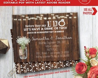 Before they say I do Invitation wood rustic I do couples shower engagement rehearsal dinner YOU EDIT text and print yourself invite 14072