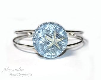 Ocean Bracelet, Beach Jewelry, Piece of Sea, Handmade, Summer Gift, Jewelry, Resin bracelet, Starfish jewelry, Summer bracelet,