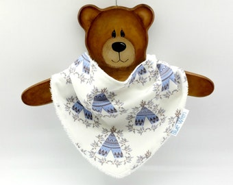 Stylish Bandanna Baby Bib for Dribble, Cute Teepees on Cotton Fabric, So Soft Bamboo Toweling, Snap Fastened, Adjustable.