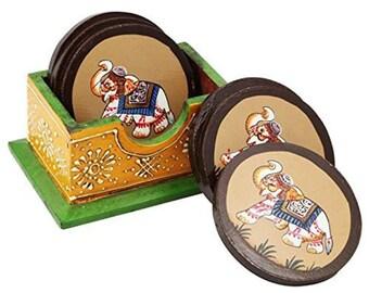 Handicrafted Elephant Printed Tea Coaster
