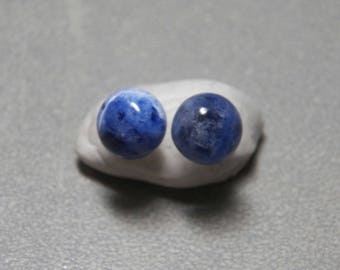 8mm Sodalite Gemstone Post Earrings with Sterling Silver