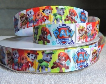 "7/8""  Paw Patrol Panels with colourful paw print Grosgrain Ribbon 3 yards, hair bows, pet collars"