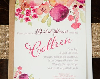Custom Bridal Shower Invitations-watercolor floral bliss - Handmade