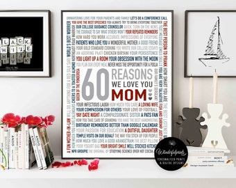 Custom 60th Birthday Gift for Woman / 1957 / For Mom / For Auntie / Gift for HER / Personalised Word Art / 16x20 / DIGITAL Download /
