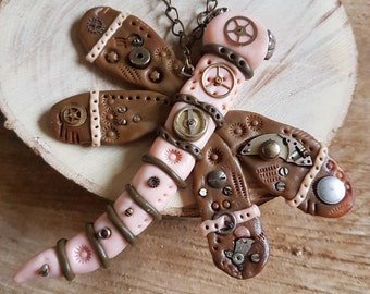 Handmade Polymer clay Steampunk brown and peach Dragonfly necklace