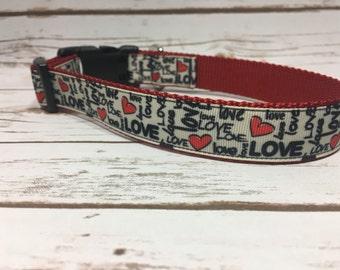 "The Eloise | Designer 1"" Width Dog Collar | CupcakePups Collars | Valentine | Medium/Large Dog Collar"