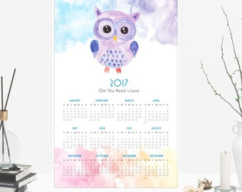 2017 Calendar Poster Watercolor Owl, Owl You Need Is Love