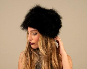 Black fox fur hat. Fox fur hat. Fur hat. Real fur hat. Real fur. Real fox. Women's fur hat. Women fox fur hat. Gift for her. Gift for women.