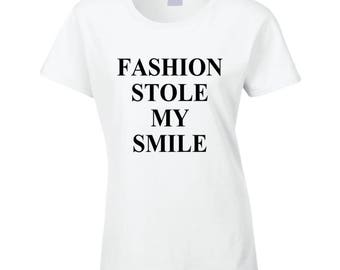 Fashion Stole My Smile Victoria Beckham Celebrity Style Graphic Model Tee Shirt