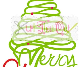 EXCLUSIVE Merry Christmas Tree 2 SVG and DXF File