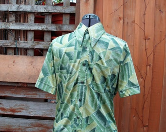 Vintage 1960's Green Hatched Pattern Men's Silky Polyester Button Down SUNSET made in Canada