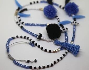 Pom pom Tassel Necklace Blue Black White