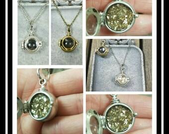 Glass Window Locket Memorial Necklace/ memorial jewelry/ pet memorial/ Locket Necklace/Ash Jewelry/64 Color Options