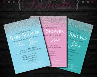 Pink Glitter Baby Shower Invite, Blue Glitter Baby Shower Invite, Teal Glitter Baby Shower Invite, Glitter Baby Shower Invite, Shower Invite