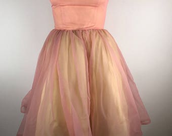 Vintage 1950s Chiffon Party Dress Knee Length Off Shoulder Tulle Pink Yellow Pastel Spring Easter Bridesmaid Wedding Prom Taffeta