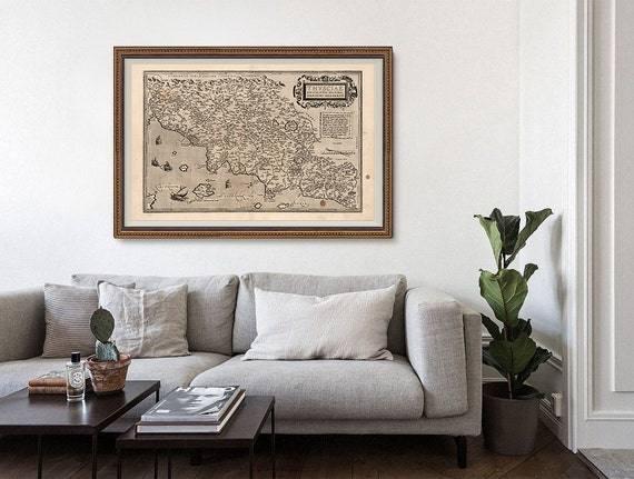 Tuscany Old Map 1570 Toscana Italy Italy Antique Map