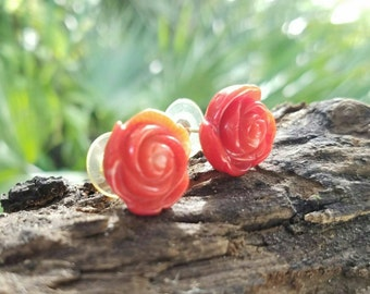 Carved Dyed Coral Rose Bud Flower Earrings, 14k Yellow Gold