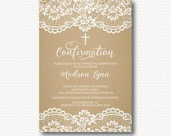Lace Confirmation Invitation, Kraft, Cross, Girls Confirmation, Boys Confirmation, Unique, Stylish, Digital, Printable, Elegant, Modern,