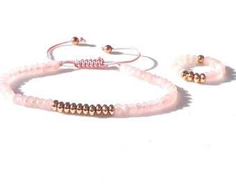 Pretty Delicate Semi Precious Baby Pink Faceted Agate Friendship Bracelet and Matching Ring with Quality Rose Gold Plated Brass Spacer Beads
