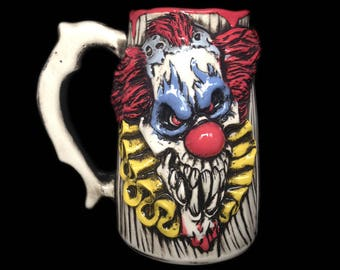 Evil Clown Beer Mug, Horror mug, Clown Mug