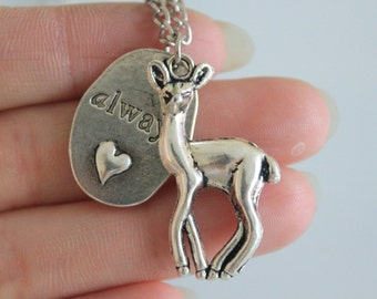Always Necklace, Deer Necklace, Silver Plated Always Necklace, Fantasy Necklace 22*34mm