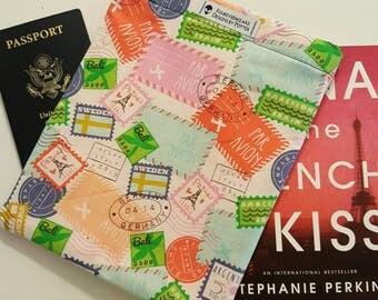 Travel Passport Stamp Reversible Book Sleeve