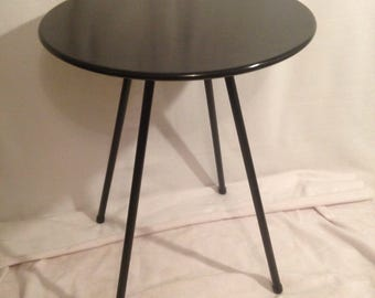 Table Bistro Metal 60cm feet removable year 70 black Vintage