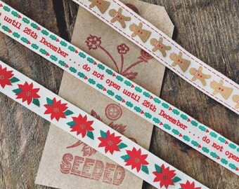 Fabulous Printed Cotton  Festive Tape Ribbons - Gingerbread Men, Do Not Open Till December 25th, Poinsettia