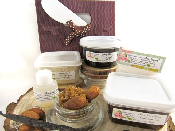 Natural Almond Brown Sugar Scrub Sugaring Paste Deluxe Starter Kit