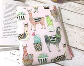 Alpaca Book Cover, Llama Book Buddy, Cactus Book Gift, Pink Cactus Book Sleeve, Padded Book Bag, Book Lover Gift, Green Polka Dot