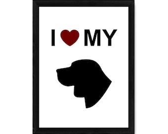 I Love My Beagle Dog Silhouette PRINT