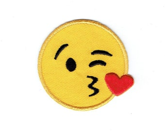 Smiley Face - Emoji - Blowing Kiss - Iron on Applique - Embroidered Patch - 697081-SA