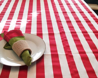 Christmas TableCloth, TableLinen, Red White Candy Stripe, Home Goods,  Serving, Kitchen