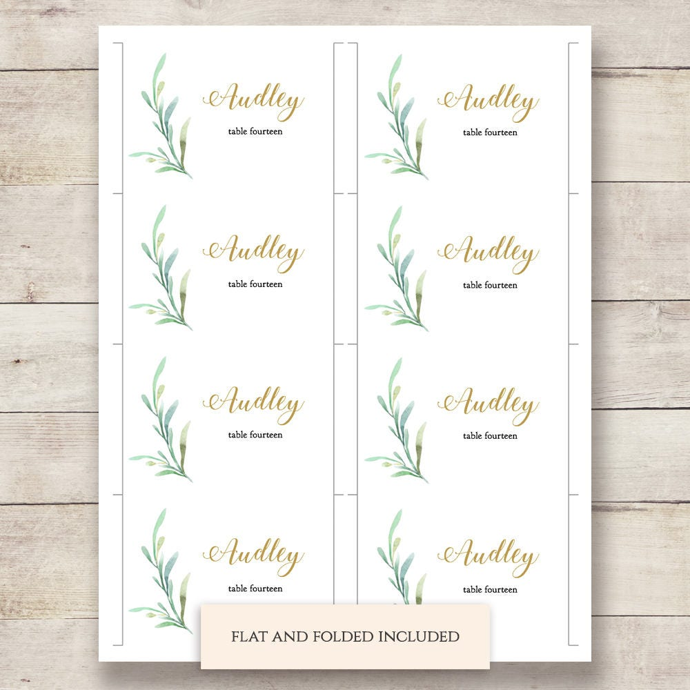 Greenery wedding table place card template flat and folded for Table place cards