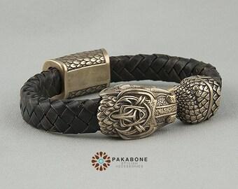 Viking Bracelet with Jormungandr - Leather Wristband  with Ouroboros art. 001-000
