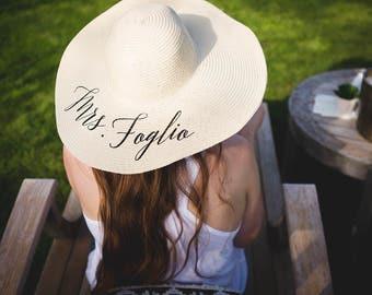 Bride gift.Custom last name beach floppy hat. bridal shower gift. custom floppy hat. bride beach hat.bride hat.honeymoon hat