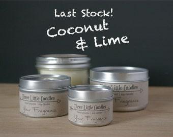 Coconut Lime Soy Candle - 2oz, 4oz or 8oz Tins or Mason Jar 170g
