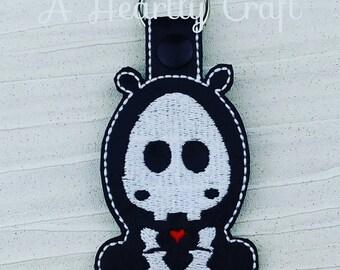 Hippo Hippopotamus Skelli Skeletal Skeleton Key Ring Fob Halloween Party Favor Skellie Bones Steampunk Boney