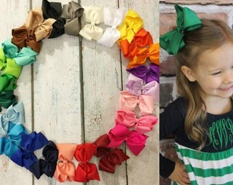 FREE SHIPPING! 5-inch bows - Set of 25- Bow Clips, Alligator Clips,Girl Bows,Cheap Bows, Baby Bows, Dollar Bows, Little Girl Bows, Hair Bows