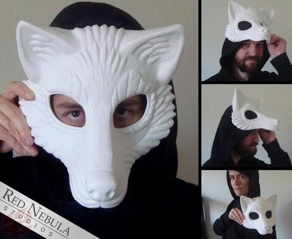Resin Wolf Mask Blank, Stylized Wolf Face Mask, Wolf Masquerade Mask, Resin Half Mask, DIY Blank Mask, Canine Masque, Husky Mask, Costume