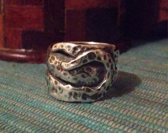 Deep Sea Sterling silver tentacle ring, large, ocean themed, chunky wide ring